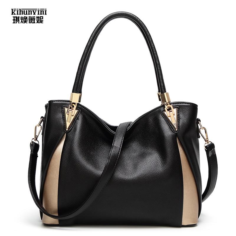 все цены на KIHUNVINI Big Handbag Women Leather Handbags Female Purse New Fashion Shoulder Bags Ladies Large Tote Bag Bolsas Girls Hand Bag онлайн