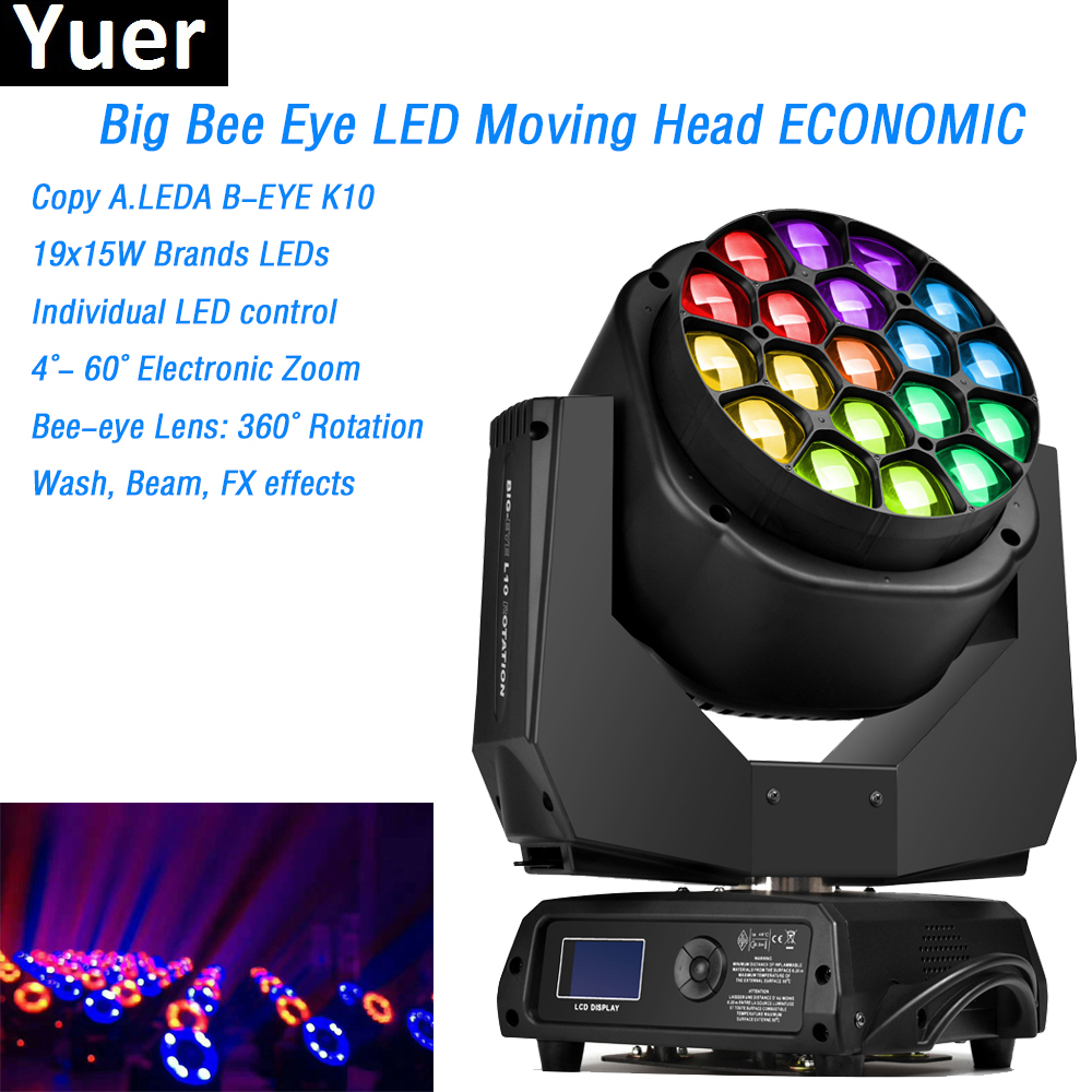 19x15W RGBW LED Big Bee Eye Moving Head Light Wash Beam Zoom Rotating Paneles ECONOMIC Clay Paky Professional DJ Stage Lighting