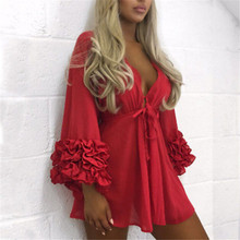 Women Sexy Beach Cover-up Long Puff Sleeve Covers up Bathing Suit Summer Wear Pareo Swimwear Mesh Dress Tunic Robe