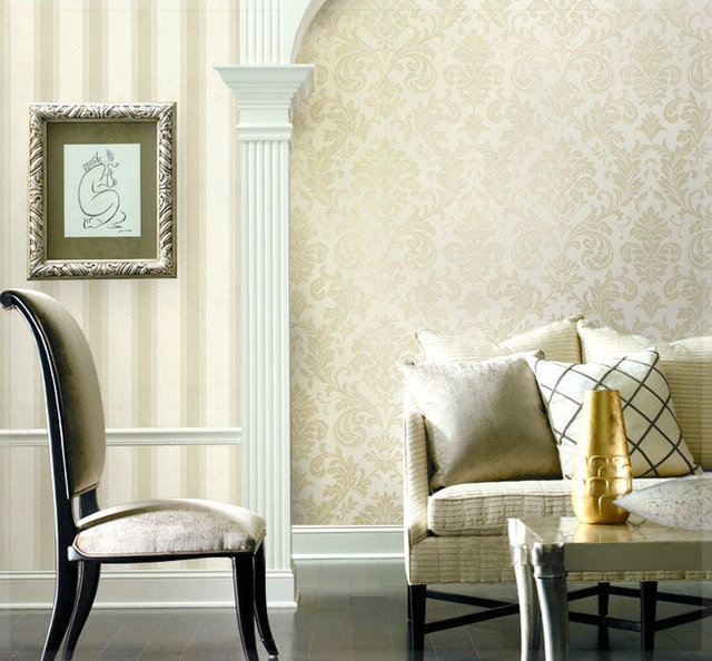 Metallic Classical Style Damask Wallpaper Glitter for Walls ...