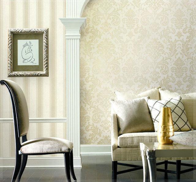 Metallic stile classico damasco wallpaper glitter per pareti camera ...