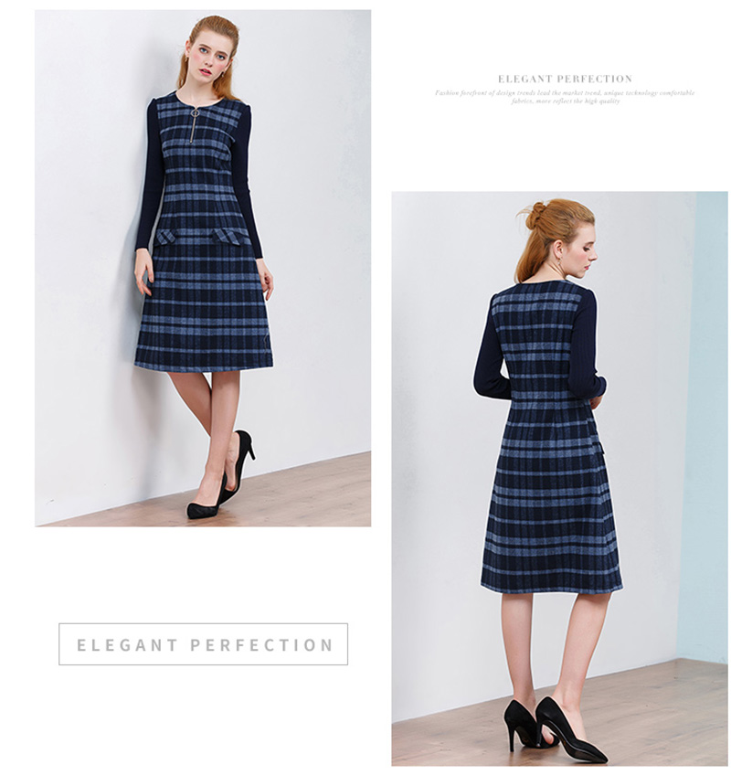 ONLY PLUS Ladies Woolen Dress for Women Knit Long Sleeve Mosaic High Quality Elegant A-line Stripe Dress Winter 2018 36