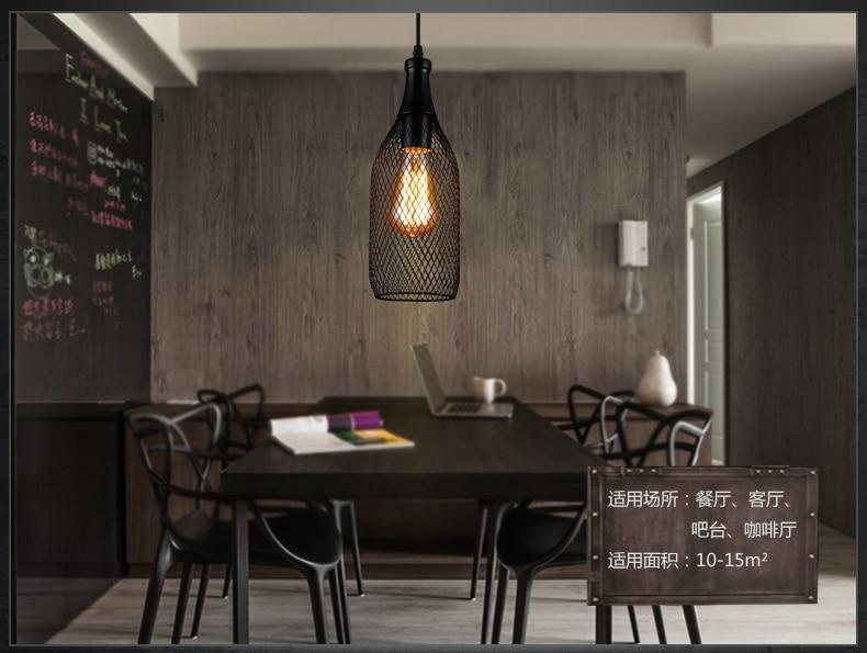 ФОТО Bottle-shaped Pendant Light wire netting bar pub club Coffee hall decoration + Edison bulb bottle European Art