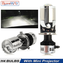 BraveWay H4 LED Bulb with Mini Projector Lens Conversion Kit Automobiles Headlight Bulbs 12V 55W 11000LM 6500K White