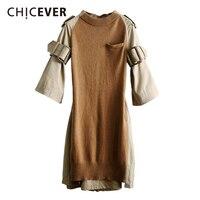 CHICEVER Spring Knitted Women Dress With Belt Flare Sleeve Loose Big Size Back Split Black Dresses