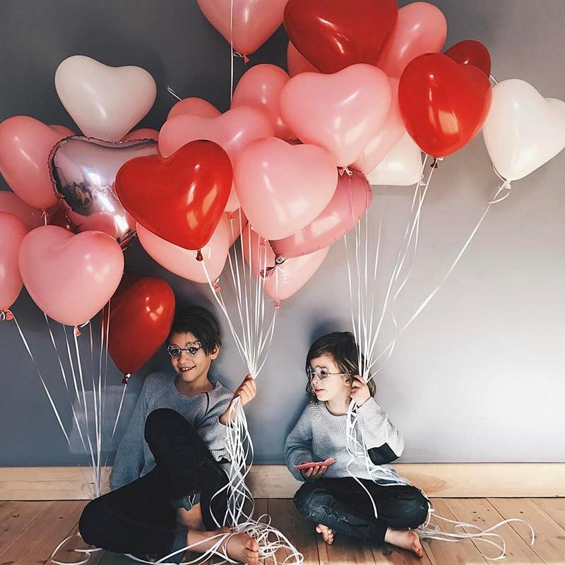 50 pcs 2.2g Rosa Vermelha Amor Balões De Látex Em Forma de Coração Balões Decoração Do Casamento Da Festa de Aniversário Do Dia Dos Namorados Ballon Inflável