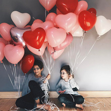 50pcs 2.2g Red Pink Love Latex Balloons Heart Shaped Wedding Decoration Valentines Day Birthday Party Inflatable Ballon