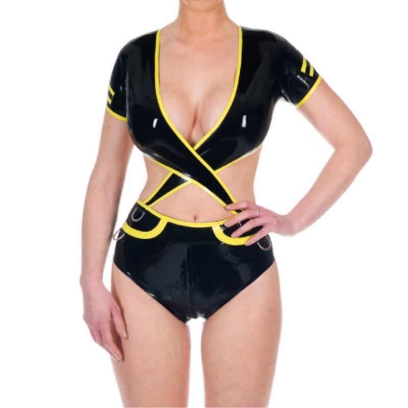 2019 Latex 100% Gummi en caoutchouc uniforme sous-vêtements soutien-gorge Shorts Bikini costume Sexy noir Cosplay taille personnalisée XXS-XXL