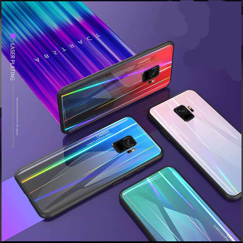 Gradient Laser Tempered Phone Glass Case For Samsung Galaxy S9 S10 Plus Note9 8 Colorful Aurora Silicone Case Anti-fall Phone image