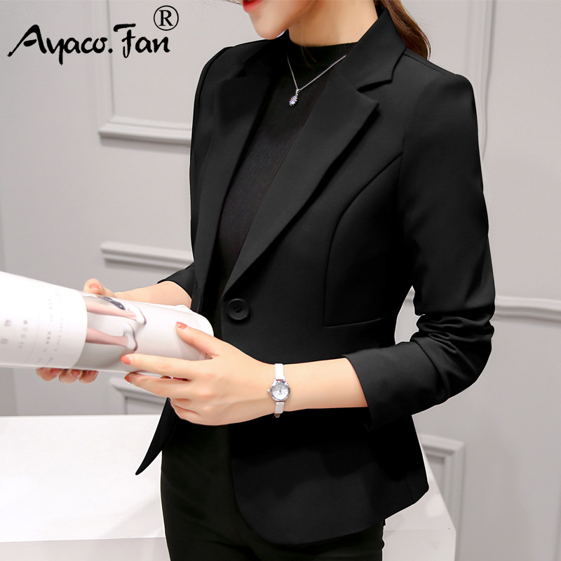 New Spring Autumn Slim Fit Women Formal Blazers Office Work Suit Open Front Notched Ladies Solid Black Coat Fashion Coats Tops