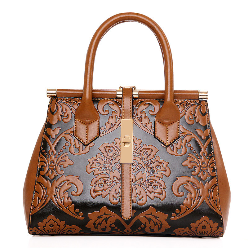 2018 High Quality Chinese Style Embossed Leather Women Handbag Pu Leather Women Bag Vintage Shoulder Bag