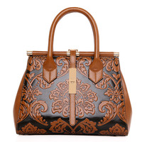 2017 High Quality Chinese Style Embossed Leather Women Handbag Pu Leather Women Bag Vintage Shoulder Bag