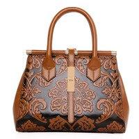 2017 High Quality Chinese Style Embossed Leather Women Handbag Pu Leather Women Bag Vintage Shoulder Bag