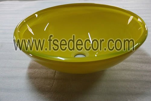 Yellow Common Glass Round Bathroom  wash Sink basin bacia do banheiro  (JSD-GS-ST206)