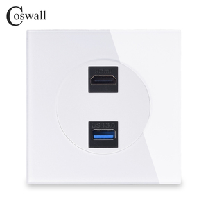 Image 1 - Coswall Crystal Tempered Glass Panel HDMI 2.0 Port USB 3.0 Jack Wall Power Socket Outlet AC 110~250V R11 Series