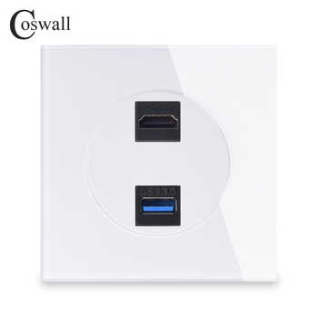 Coswall Crystal Tempered Glass Panel HDMI 2.0 Port USB 3.0 Jack Wall Power Socket Outlet AC 110~250V R11 Series - DISCOUNT ITEM  42% OFF All Category