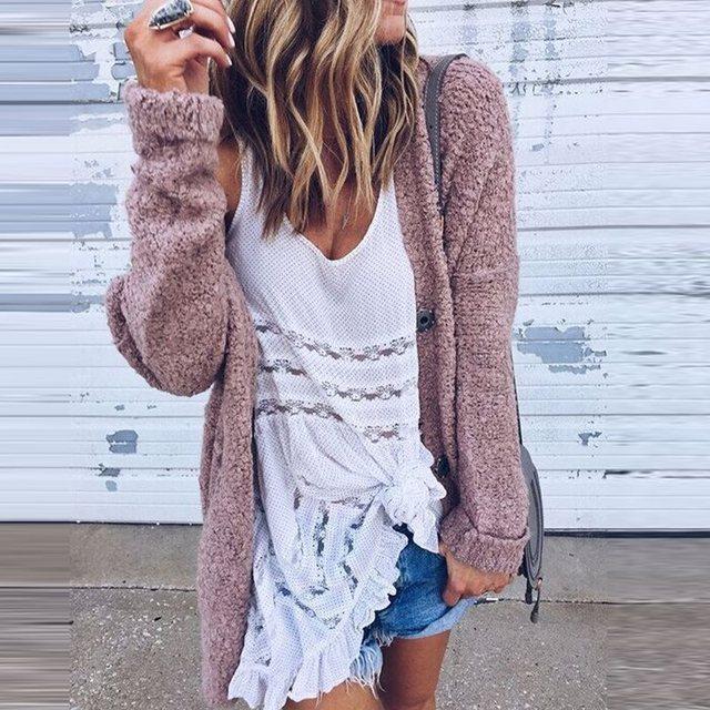 2017 Autumn Women Warm Fleece Cardigan Casual Long Sleeve Cashmere ...