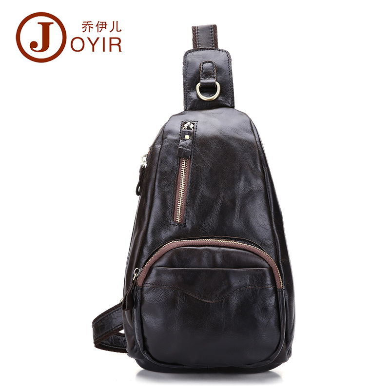 JOYIR New Summer Bag Men Chest Pack Single Shoulder Strap Back Bags Genuine Leather Travel Men Crossbody Bags Vintage Chest Bag