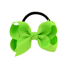 Fashion kids baby 1Pcs female solid color bow hair rope rubber band girl apron tiara accessories ring