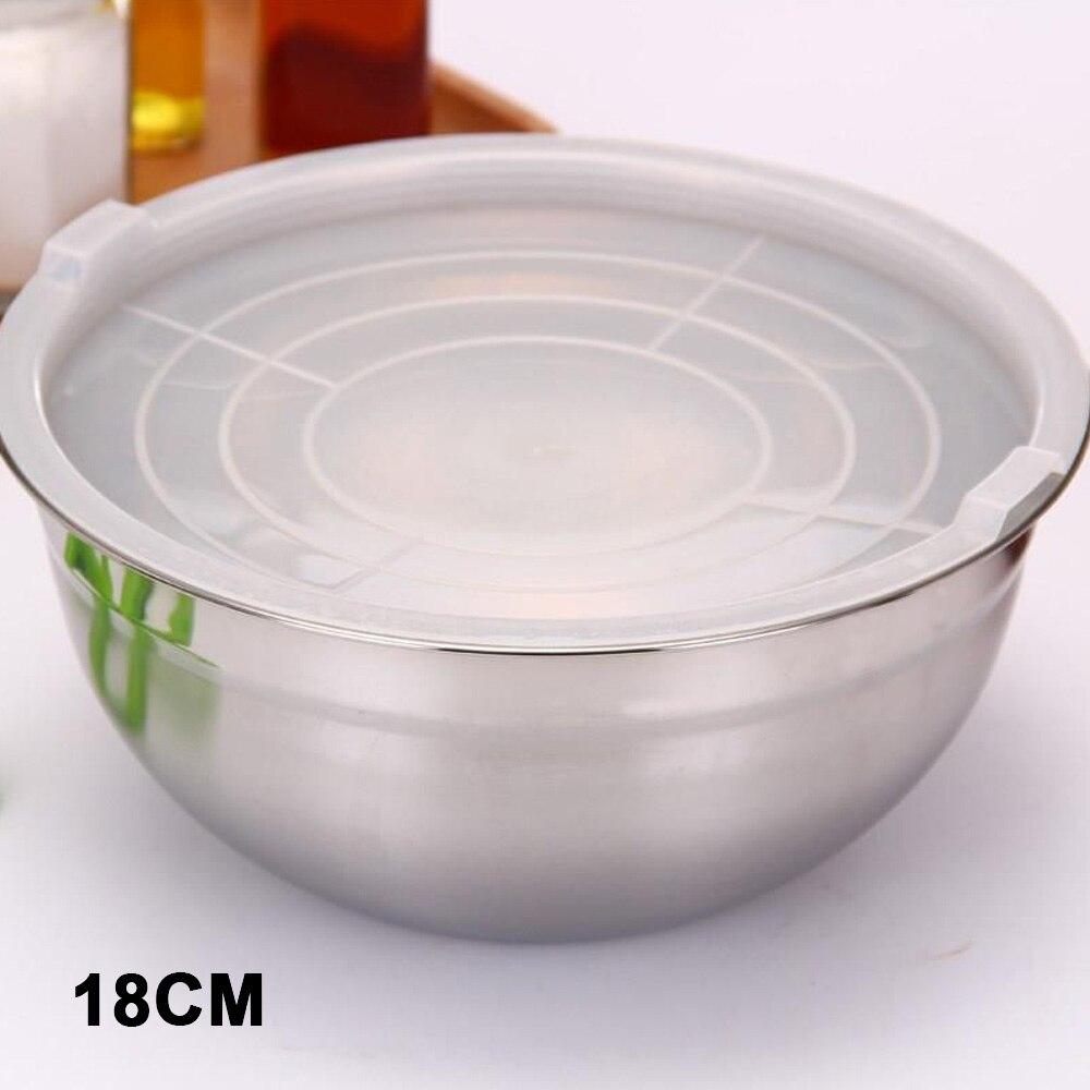 Крышка салатник кухонные миски мгновенная лапша портативные Ланч-боксы кухонные инструменты для приготовления пищи смешивающая чаша практичная столовая - Цвет: 18cm