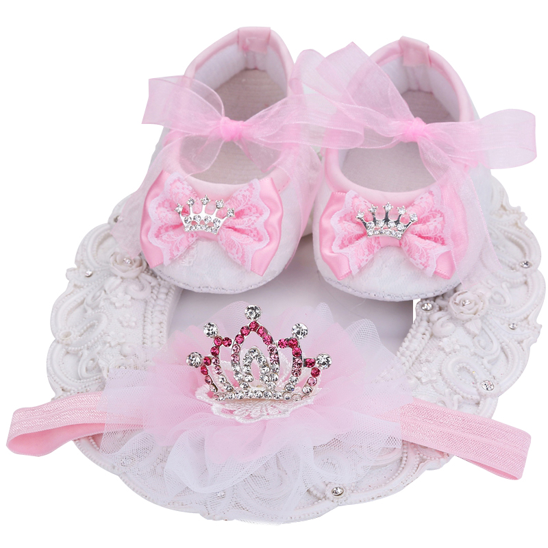 ed2b2ca12bce7 Baby Shoes Girls Newborn Summer Headband Set;Girls Shoes Kids Heels 2017  Princess Wedding Christening Baby Moccasins Toddler