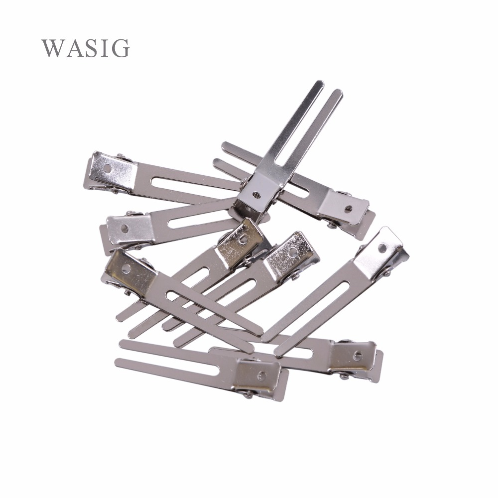 30pcs 45mm Double Prong Alligator Hair Clips Flat Metal Boutique Hairpins With No Teeth For DIY Hair Styling Accessory