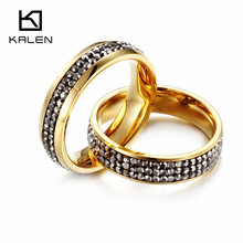 Kalen New Fashion Gold Plated Double Ring Stainless Steel Bagues Femme Rhinestone Cheap Party Engagement Lover Couple Rings Gift