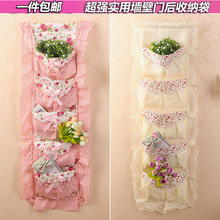 Wall fabric lace multi-layer storage hanging bag grocery bags