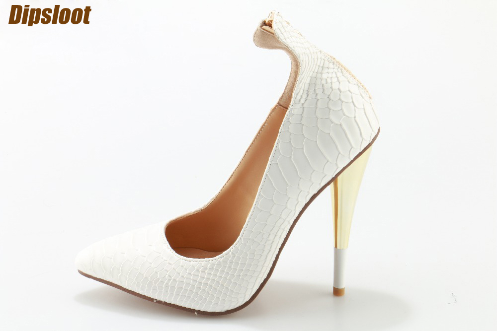 Spring Fashion White Python Leather Women Pointed Toe Pumps Zipper Back Finger High Heel Ladies Sexy Dress Shoes Slip On Pumps new 2017 spring summer women shoes pointed toe high quality brand fashion womens flats ladies plus size 41 sweet flock t179