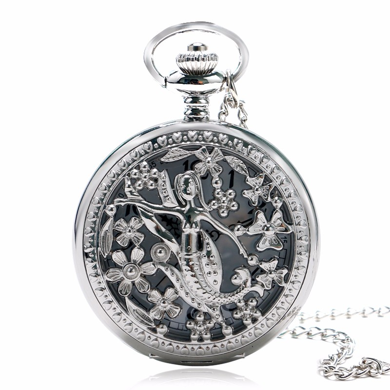 2020 Exquisite Silver Hollow The Little Mermaid Pattern Vintage Pocket Watch With Chain New Arrival Women Ladies Girls Gift