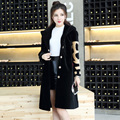 2017 Women Long Real Wool Coat Korea Style Single Breasted Fashion Popular Lady Winter Slim Fit Warm Thick Coat FREE SHIPPING
