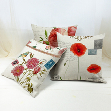 Fashion Floral Printed Flower Linen High Qulity Cushion Cover For Sofa Throw Pillow Case Chair Car
