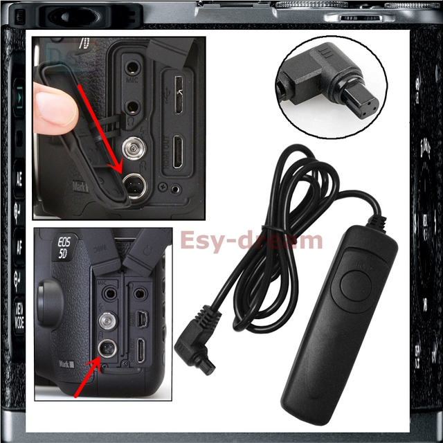 US $2 27 |Shutter Release Cable Remote Control For Canon RS 80N3 5DS 5DSR  7D / 5D Mark II III IV / 6D 50D 40D / 1DX Mark II / 1D Mark IV-in Shutter