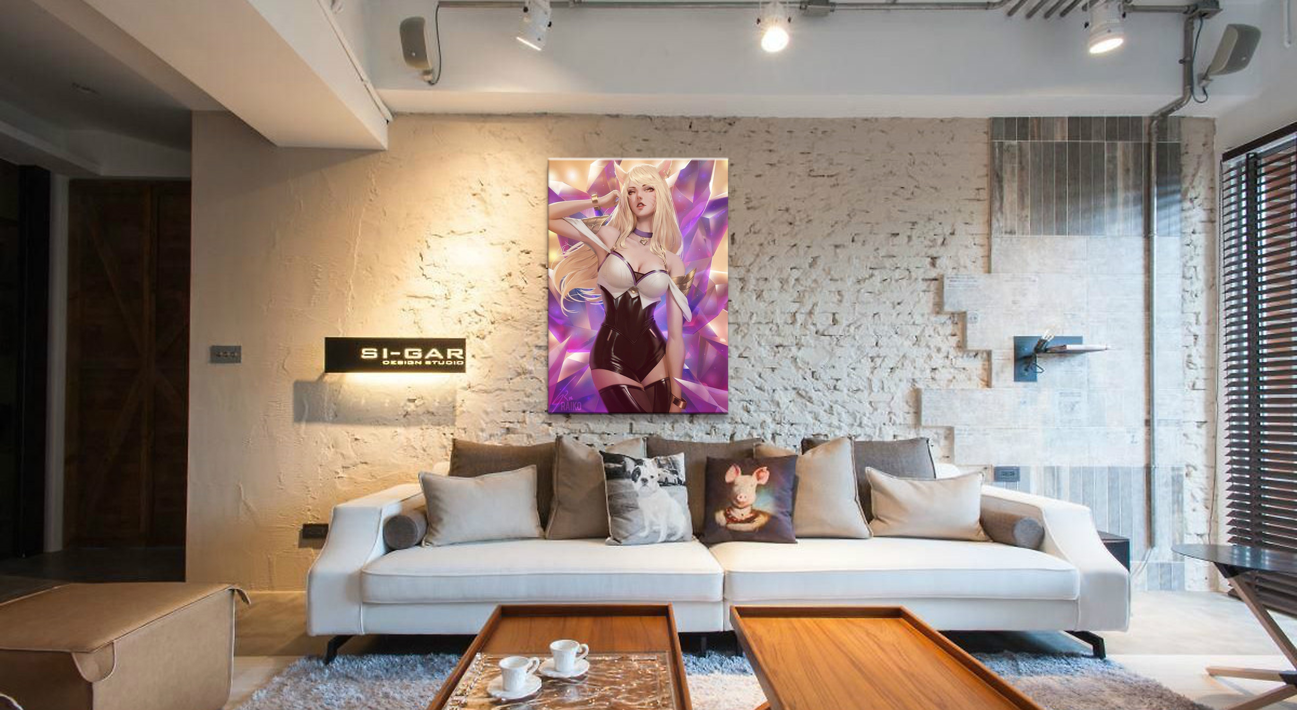 Framework Home Decor Canvas League of Legends LOL Game 1 Piece Sexy Ahri Art Poster Prints Picture Decoration Painting Wholesale in Painting Calligraphy from Home Garden