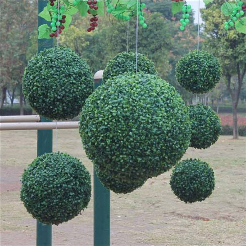 1pcs modern plastic topiary artificial leaf effect ball for Artificial grass indoor decoration