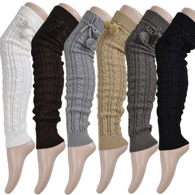 d1e8669fbe7 Knitted Women Winter Leg Warmers Knee High Thigh High Tie Cable knitted  Long Boot Socks Ladies Boot Leg Warmer
