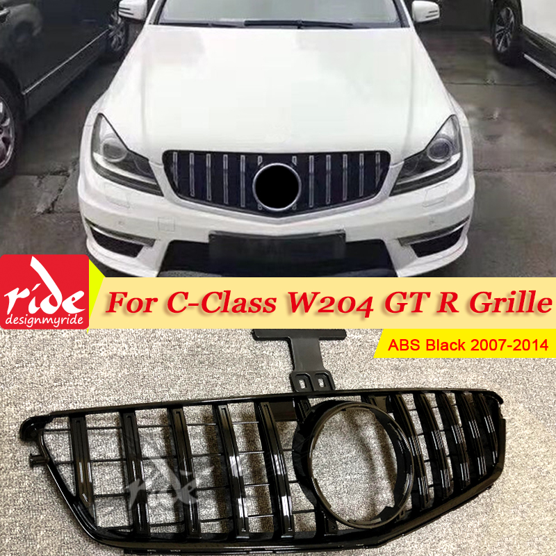 C-CLASS GT R STYLE ALL BLACK GRILLE C250 C350 C300 2008 2009 2010 2011 2013 2014