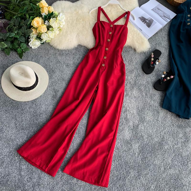 Button Suspender Pants 2019 New Brooch, Cross Back, Slim Seaside Holidays Pure-color Broad-legged Trousers