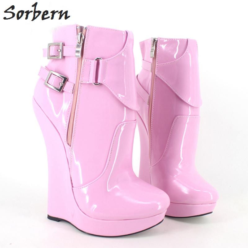 Sorbern 18CM Women Ankle Boots Wedges Shoes Plus Size Buckle Strap Fashion Ladies Unisex Shoes Patent Leather Custom Made Color ensemble stars 2wink cospaly shoes anime boots custom made
