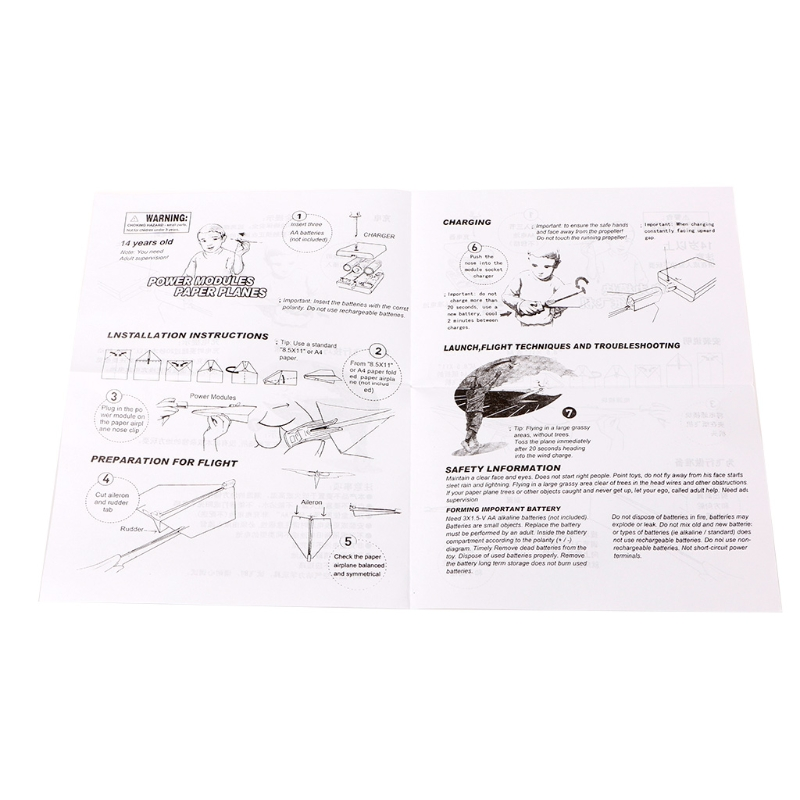 Paper Airplane Model Diy Power Up Flying Plane Kids Toys W25
