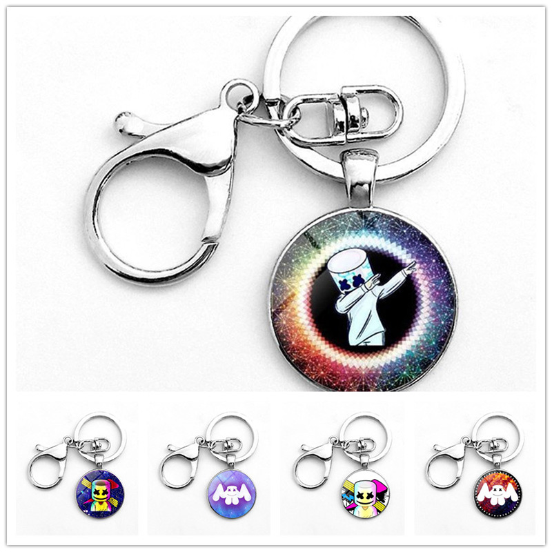 ZSQH DJ Marshmello keychains prop key chain fashion Keyring Best Gift Halloween Cosplay Pops Accessory For Kids Women&Men Boys