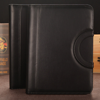New Black Leather Folder Organizer For Document Business Multifunction Manager Folder Padfolio A4 File Folder With