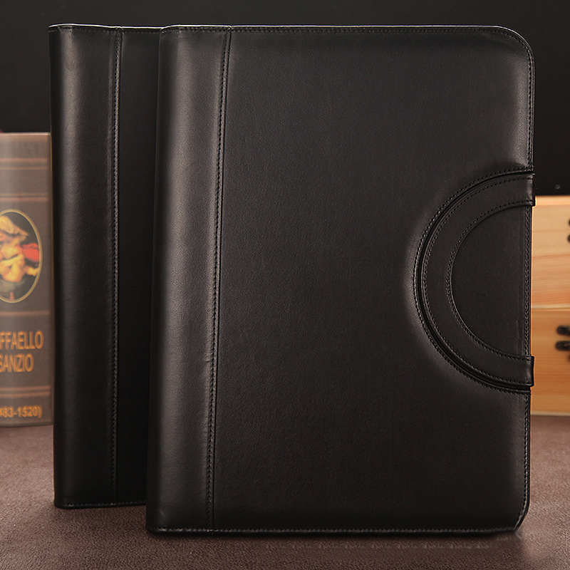 New Black Leather Folder Organizer For Document Business Multifunction Manager folder Padfolio A4 File Folder With Calculator