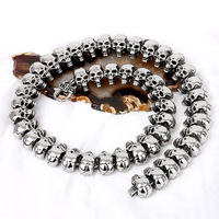 High Quality 25.5 Fashion Heavy Mens Bling Skull Biker Chain,Punk Jewelry 316L Stainless Steel Link Chain Necklace Hot Selling