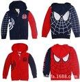 3 - 7 T niños chicos primavera negro / del hombre araña roja homem aranha dibujos animados cremalleras con capucha del sombrero para niños deporte sudadera larga coatas