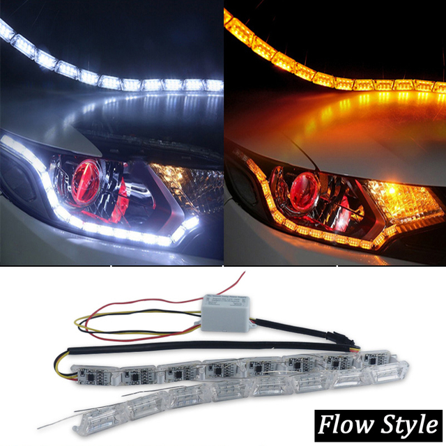 X Sequential Turn Flow Audi Style Car Flexible Strip White Amber - Flow audi
