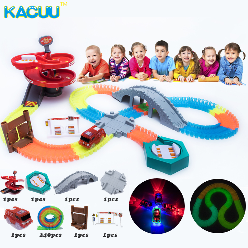 2018 Newest 240pcs/set Glowing Race Track Turn Table Race Tracks Bend Flex DIY Plastic Track Girls Boys Gift Toys For Children