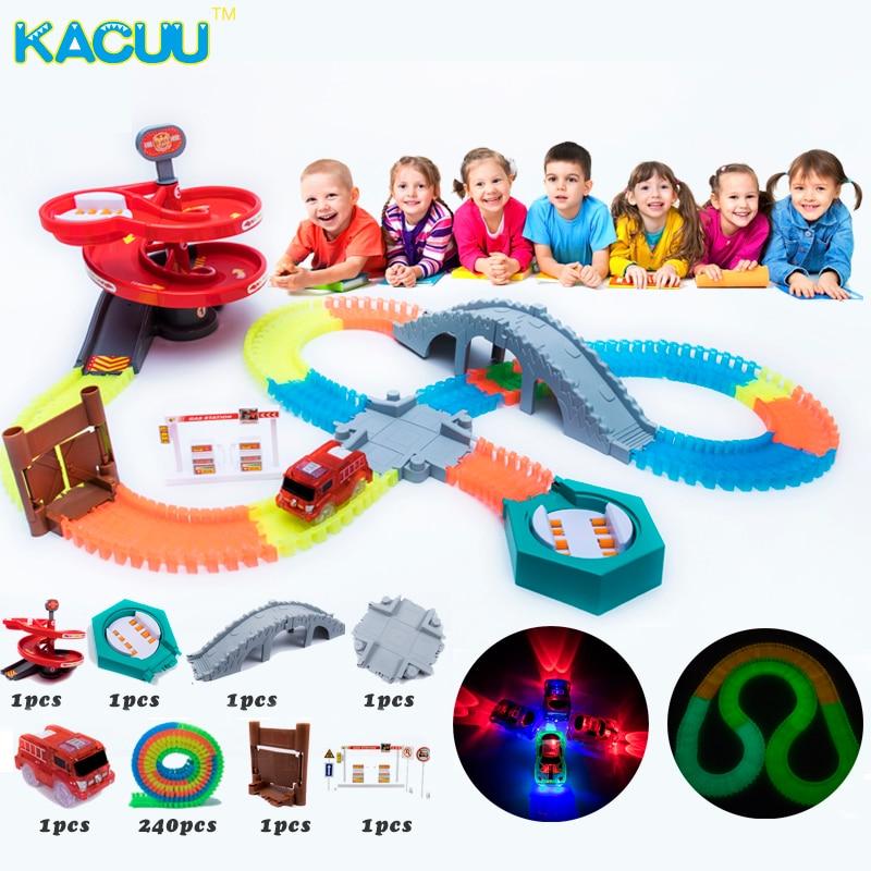 2018 Newest 240pcs/set Glowing Race Track Turn Table Race Tracks Bend Flex DIY Plastic Track Girls Boys Gift Toys For Children все цены