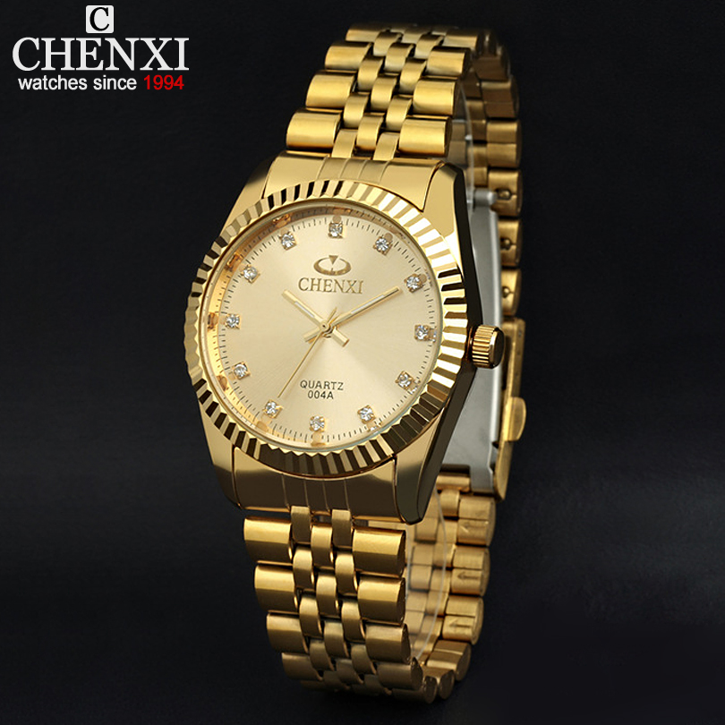 Golden New Clock gold Fashion font b Men b font watch full gold Stainless Steel Quartz