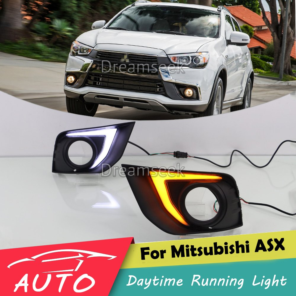 DRL For Mitsubishi Asx Outlander 2016 LED Daytime Running Light Fog Lamp Bezel With Turn Signal